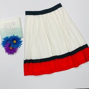 ANNE KLINE White Red and Black Pleated Skirt